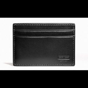 COACH MEN FLAT LEATHER CARD HOLDER WITH MONEY CLIP
